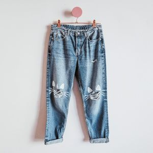 One Of A Kind Painted Cat Blue Denim Jeans